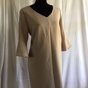 Tan mini dress with 3/4 flounce sleeve Size: Small